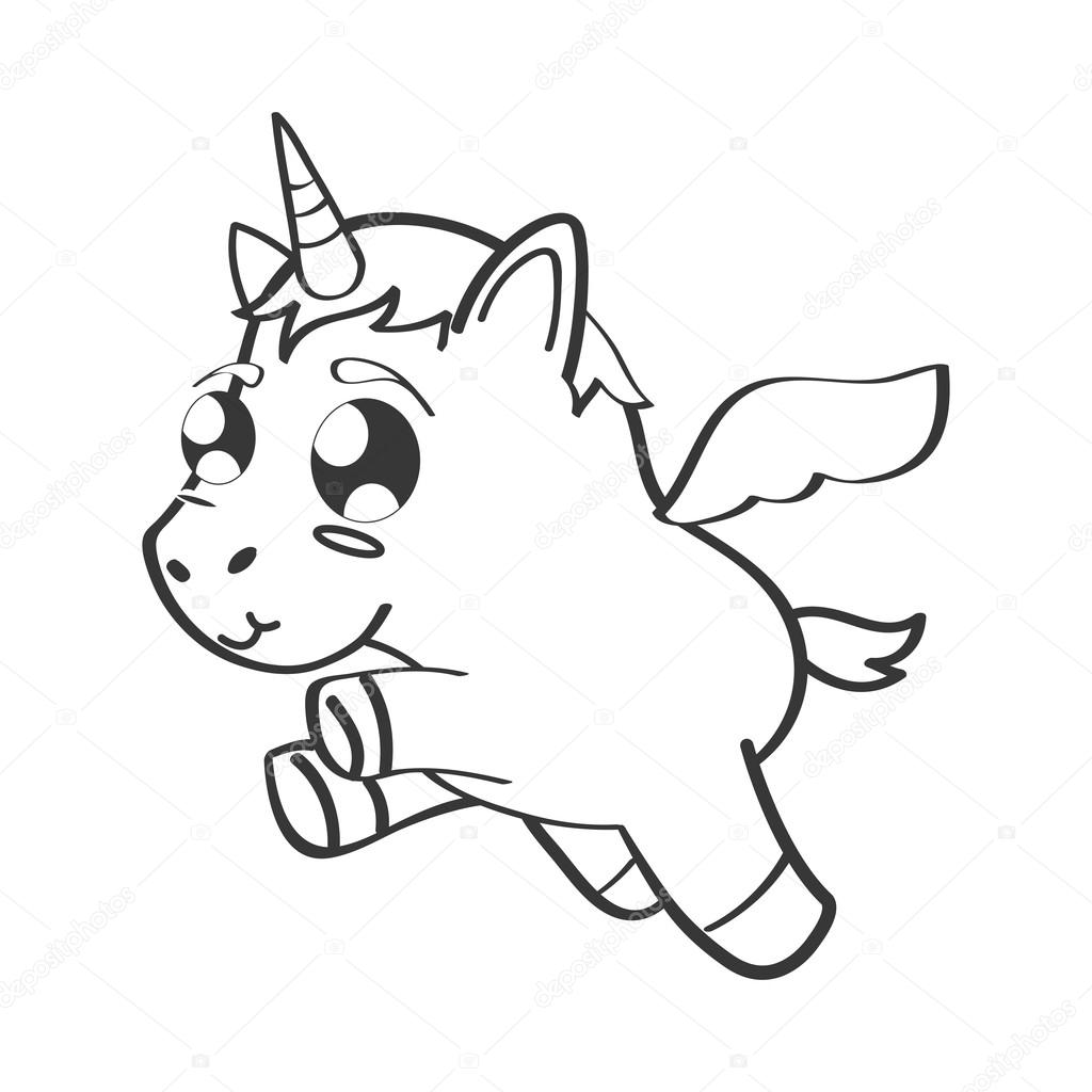 1024x1024 Cute Unicorn Drawn Icon Stock Vector Djv