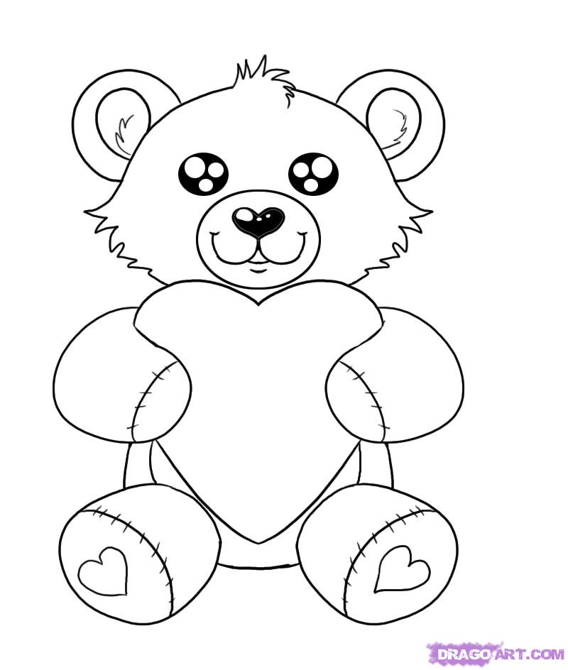 800x944 How To Draw A Valentines Day Heart Bear, Step By Step, Valentines