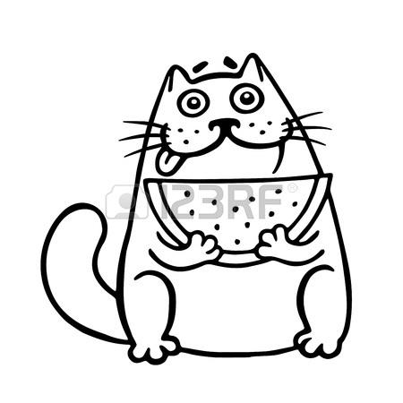 450x450 Cute Fat Cat Eats Watermelon. Cat. Funny Cartoon Cool Character
