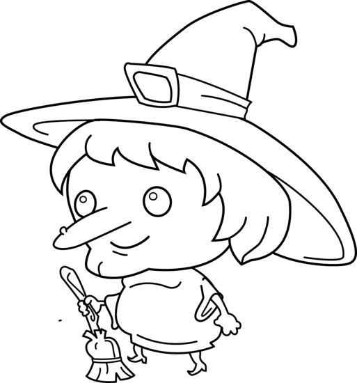 513x550 cute witch coloring page - Cute Witch Coloring Pages