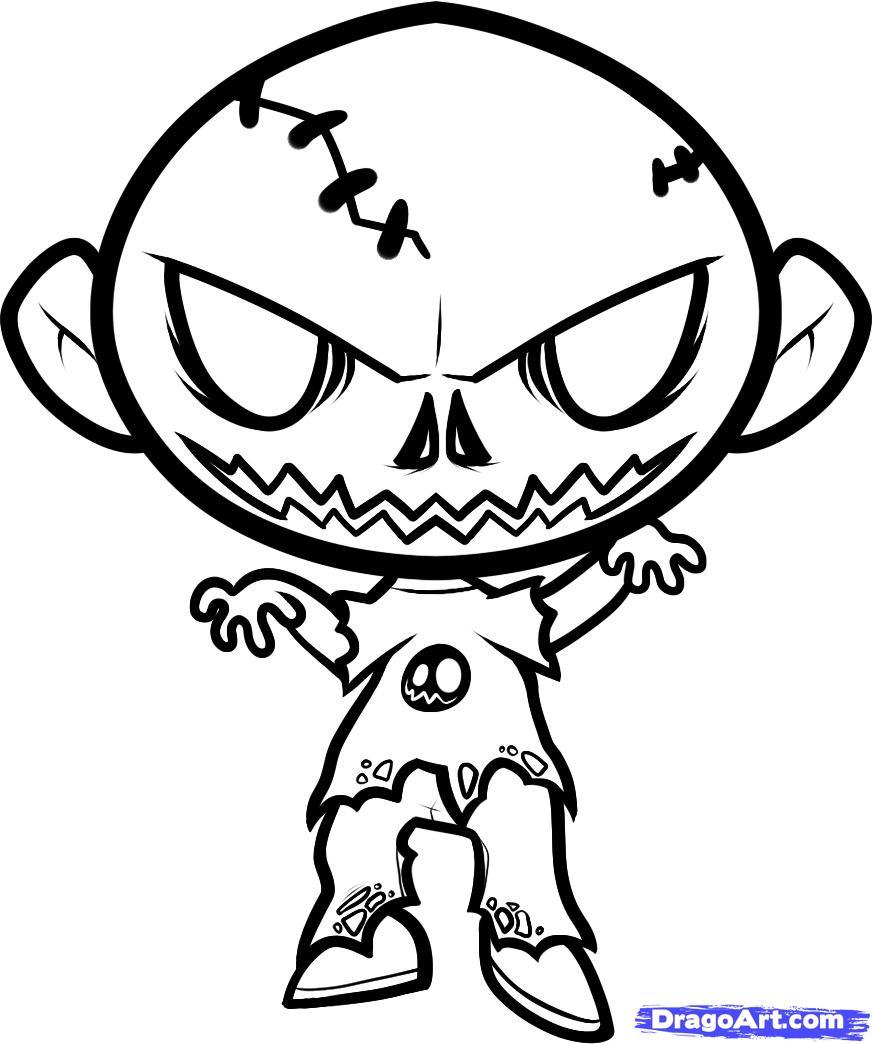 872x1044 How To Draw A Halloween Zombie, Halloween Zombie Step 8 Tattoo