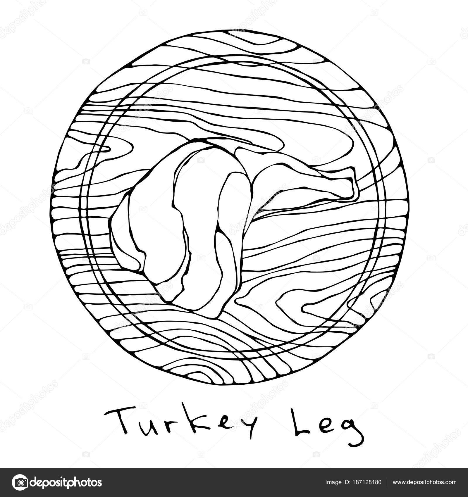1600x1700 Raw Turkey, Chicken Leg On Round Cutting Board. For Cooking