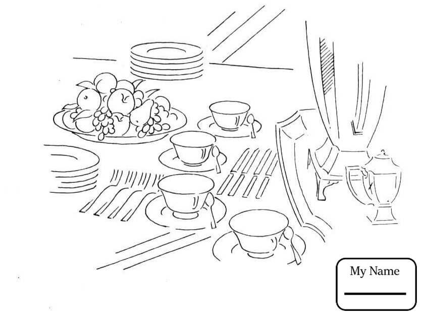 842x630 Coloring Pages For Kids Home Housework Fork Spoon And Knife
