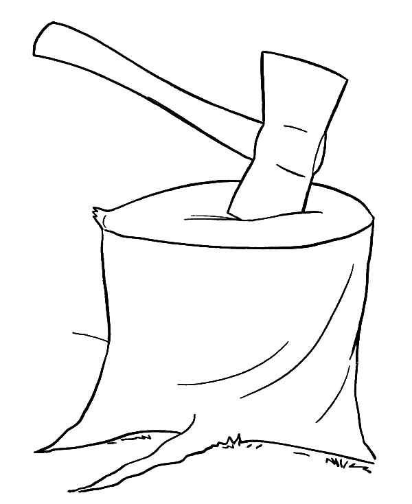 600x734 Hatchet For Cutting Tree Coloring Pages Hatchet For Cutting Tree