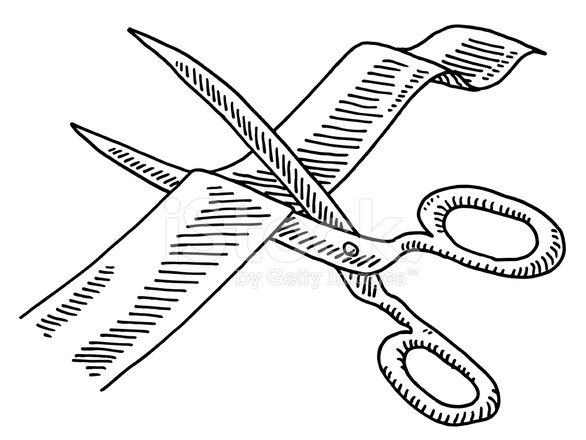 586x440 Scissors Cutting Ribbon Drawing Stock Vector
