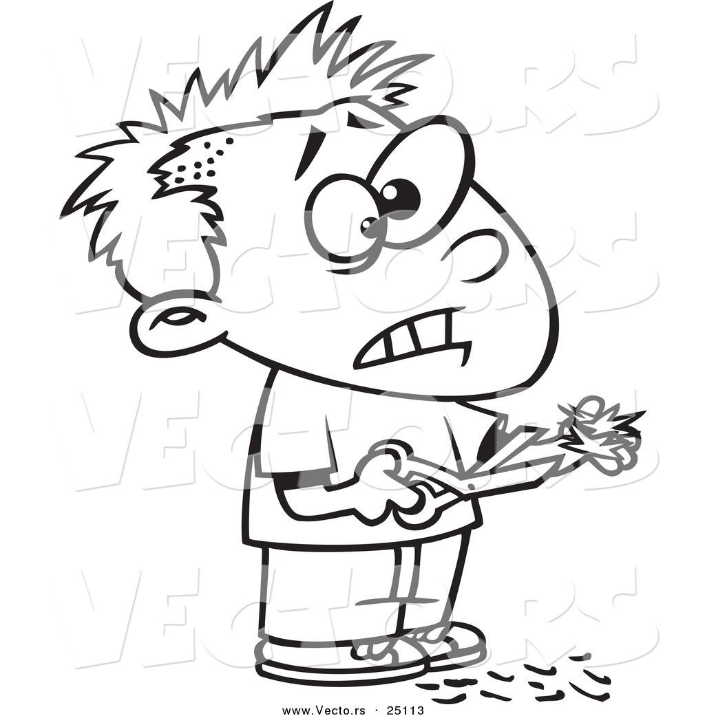 1024x1044 Vector Of A Cartoon Boy Cutting His Own Hair