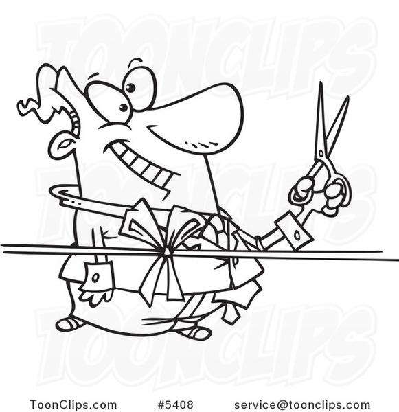 581x600 Cartoon Blacknd White Line Drawing Of Business Man Cutting