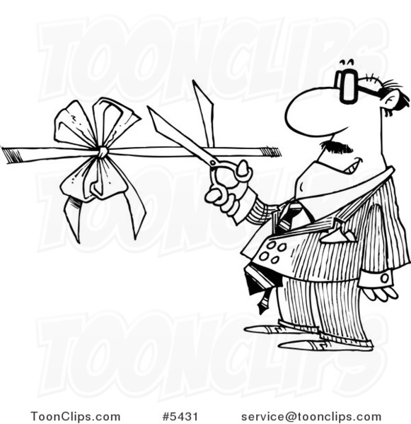 581x600 Cartoon Black And White Line Drawing Of A Business Man Performing