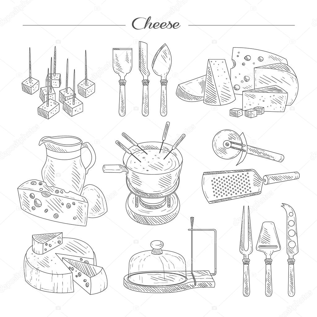 1024x1024 Cheese And Cutting Tools. Sketch Vector Illustration Set. Stock