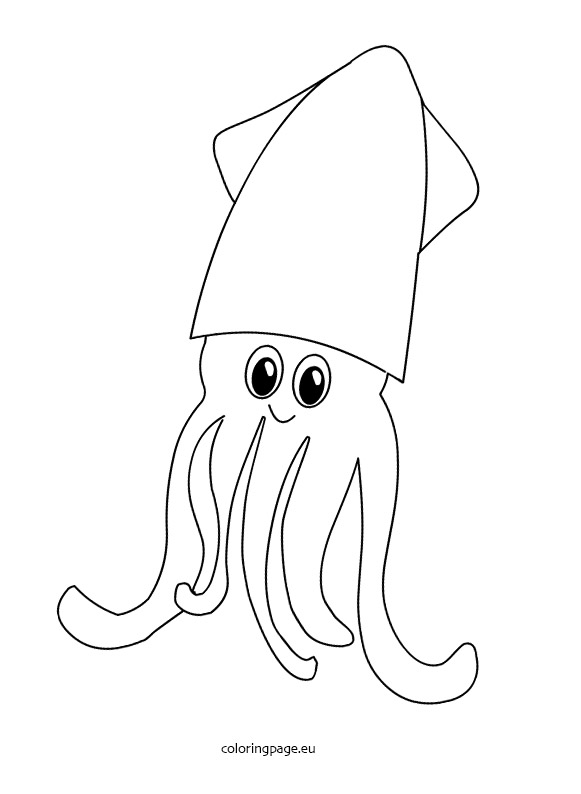 581x794 Cuttlefish Coloring Page