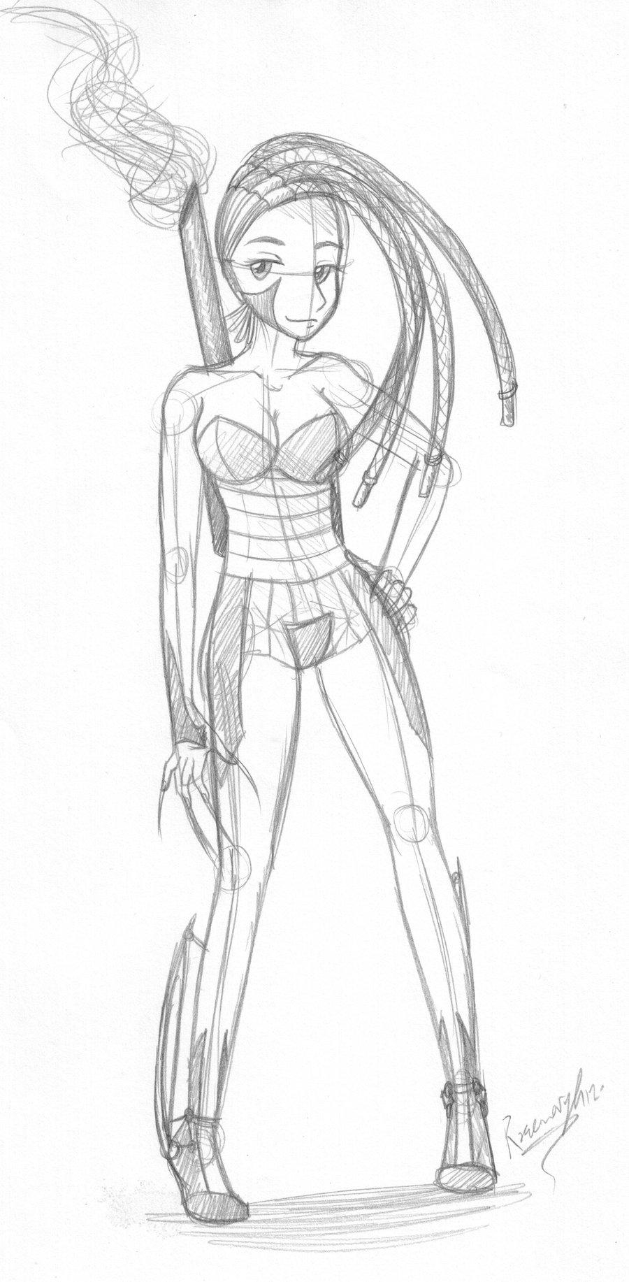 900x1834 Cyborg Girl Sketch By Alexfan101