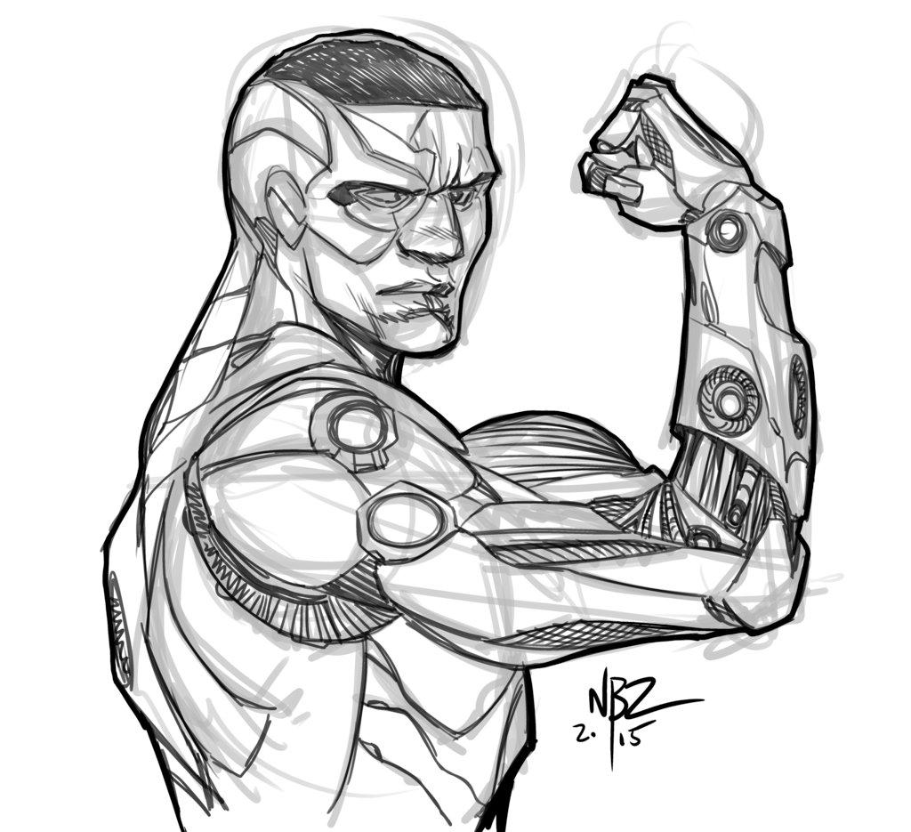 1024x935 Cyborg Sketch By Nelsonblakeii