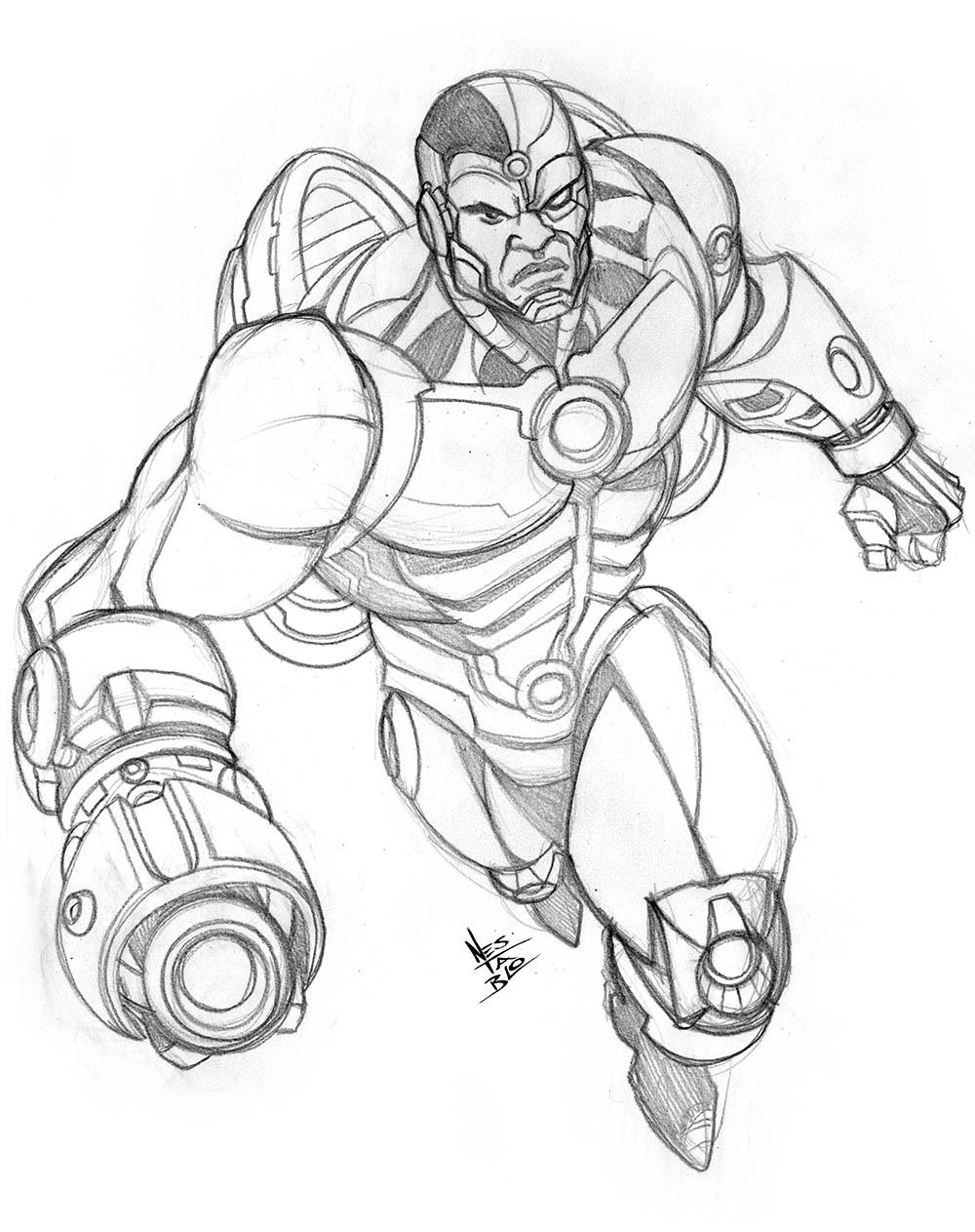 1000x1263 Cyborg Sketch Comic Book Illustration Sketches