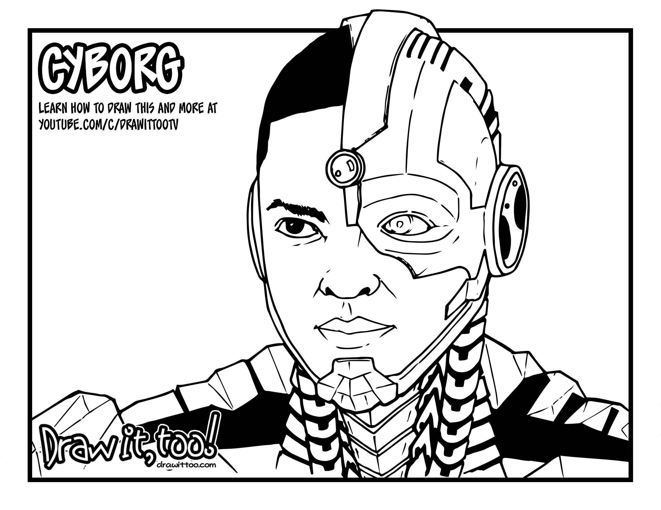 2200x1700 How To Draw Cyborg (Justice League) Drawing Tutorial