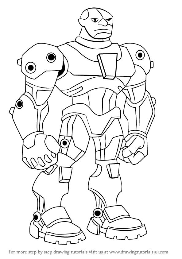 593x844 Learn How To Draw Cyborg From Teen Titans (Teen Titans) Step By