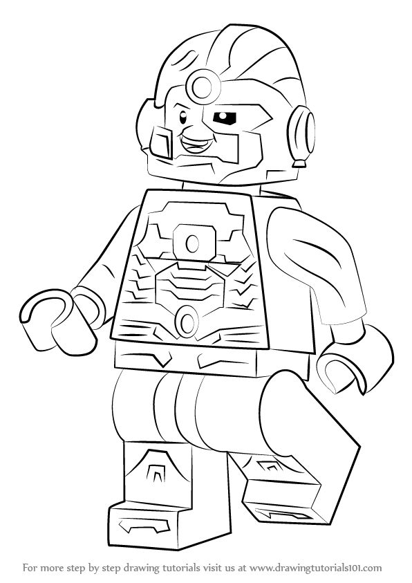 596x843 Learn How To Draw Lego Cyborg (Lego) Step By Step Drawing Tutorials
