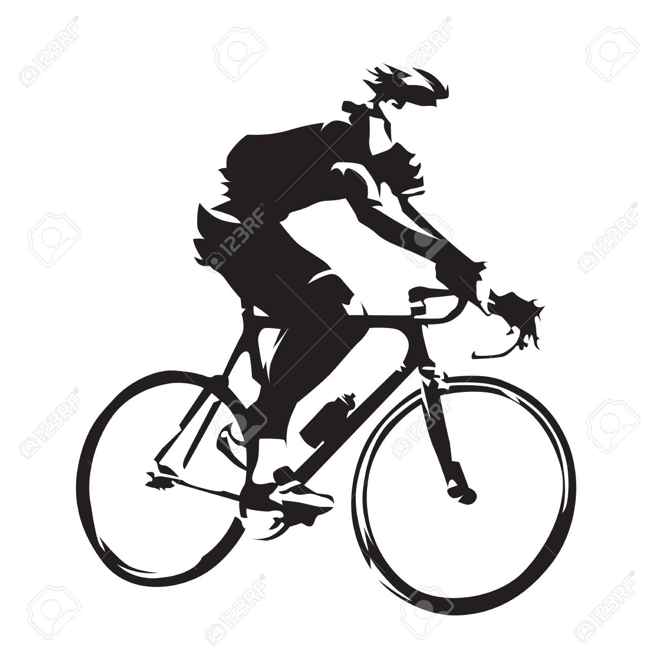 1300x1300 Cycling Theme, Vector Silhouette Of Road Cyclist, Side View