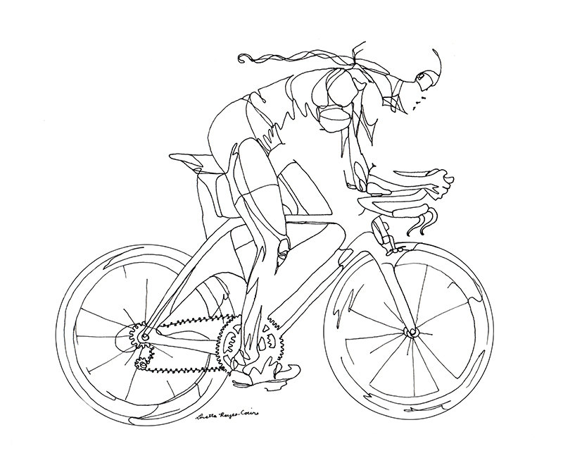 800x640 Art Print Of Line Drawing Woman Cyclist