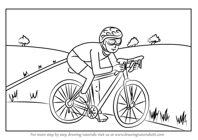 800x566 Learn How To Draw A Cyclist Scene (Other Occupations) Step By Step