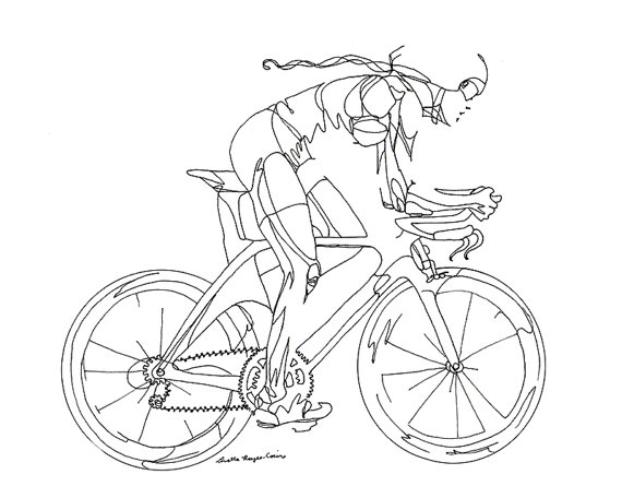 570x456 Line Drawing Cyclist Illustraciones Drawings