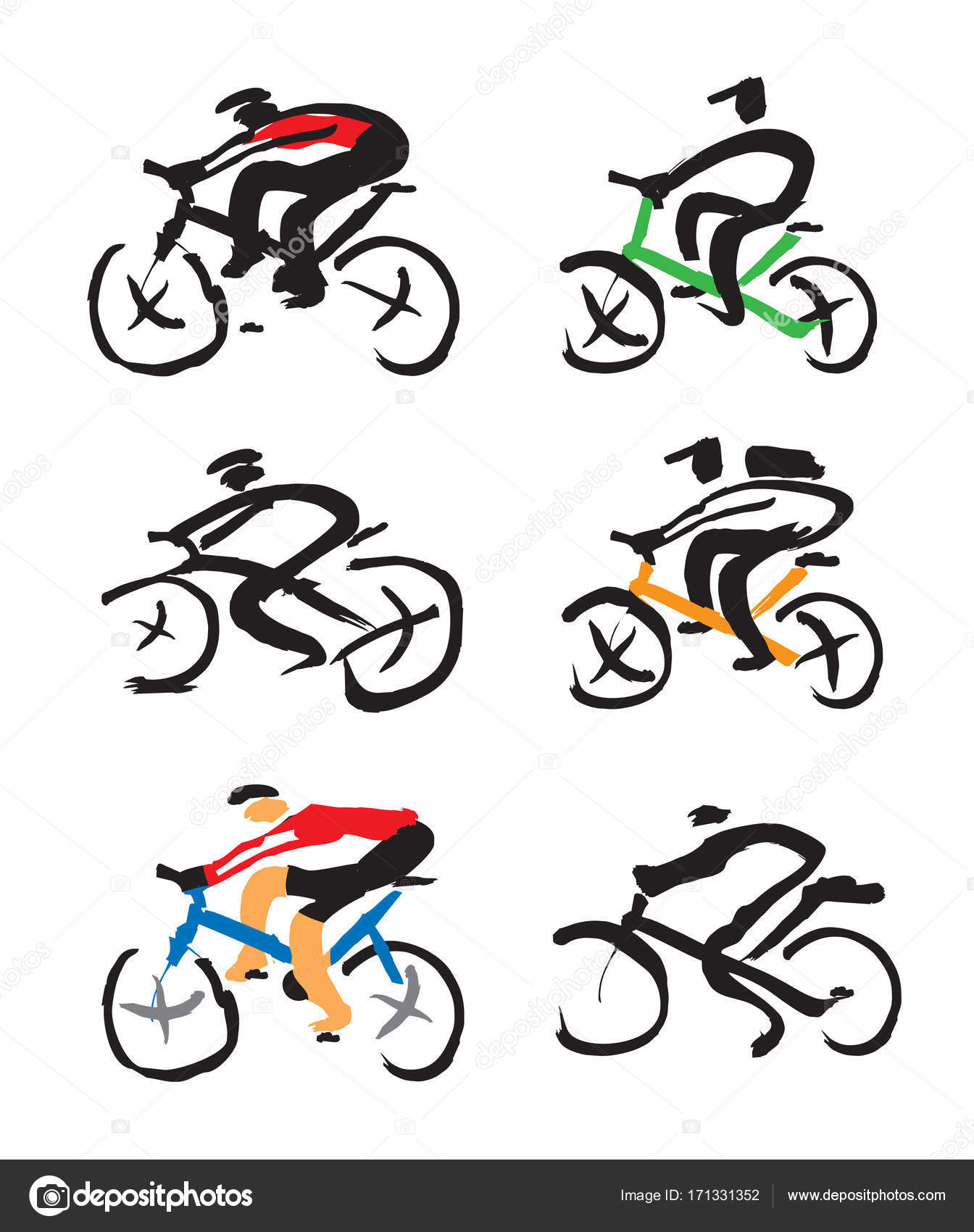 1344x1700 Set Of Cyclist Ink Drawings. Stock Vector Chachar