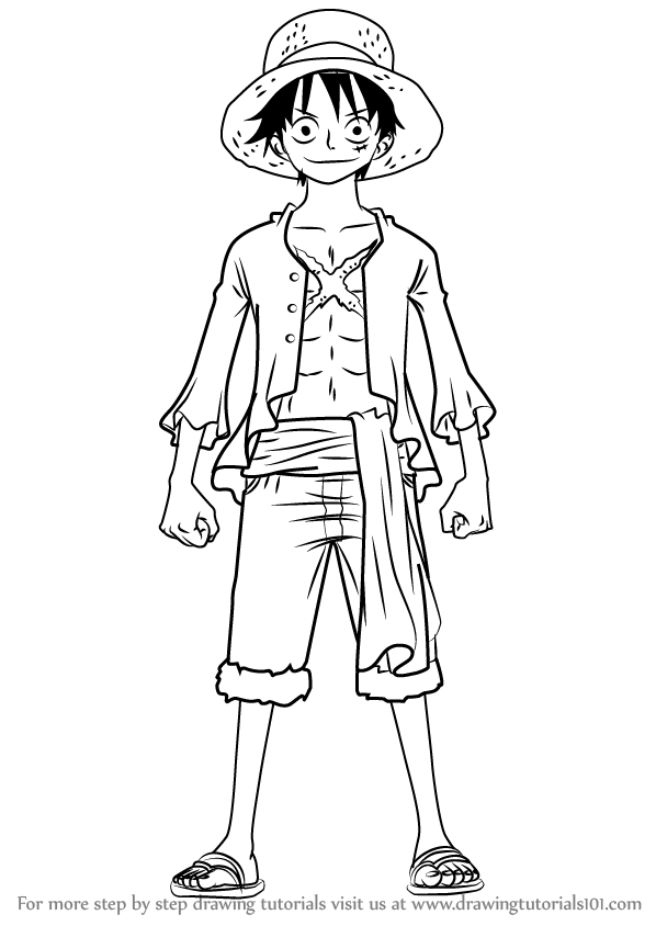 598x844 Learn How To Draw Monkey D. Luffy Full Body From One Piece (One