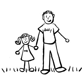 325x325 Father And Daughter Family Art (Drawing)