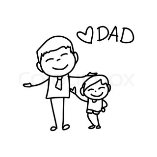 320x320 Hand Drawing Cartoon Happy Dad Playing With Baby Father Day Vector