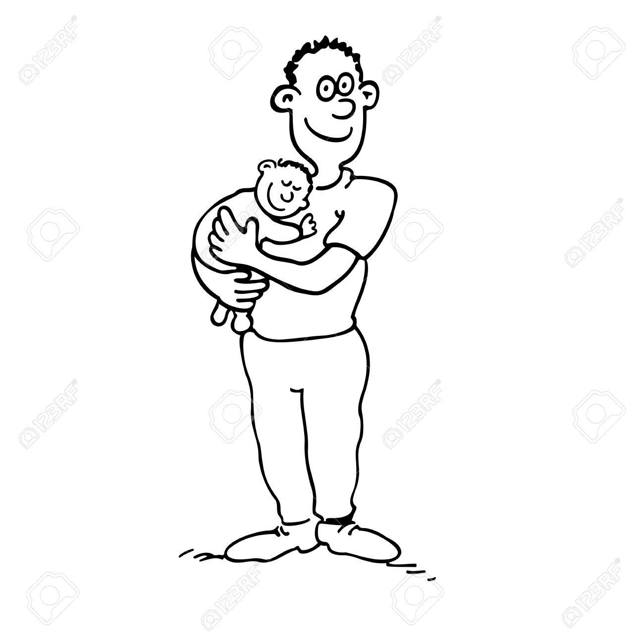 1300x1300 Happy Dad Is Holding Her Babyboy. Outlined Cartoon Drawing Sketch