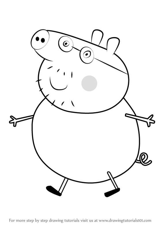 566x800 Learn How To Draw Daddy Pig From Peppa Pig (Peppa Pig) Step By