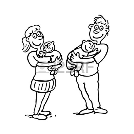 450x450 Mom Dad Hold Baby. Outlined Cartoon Drawing Sketch Illustration