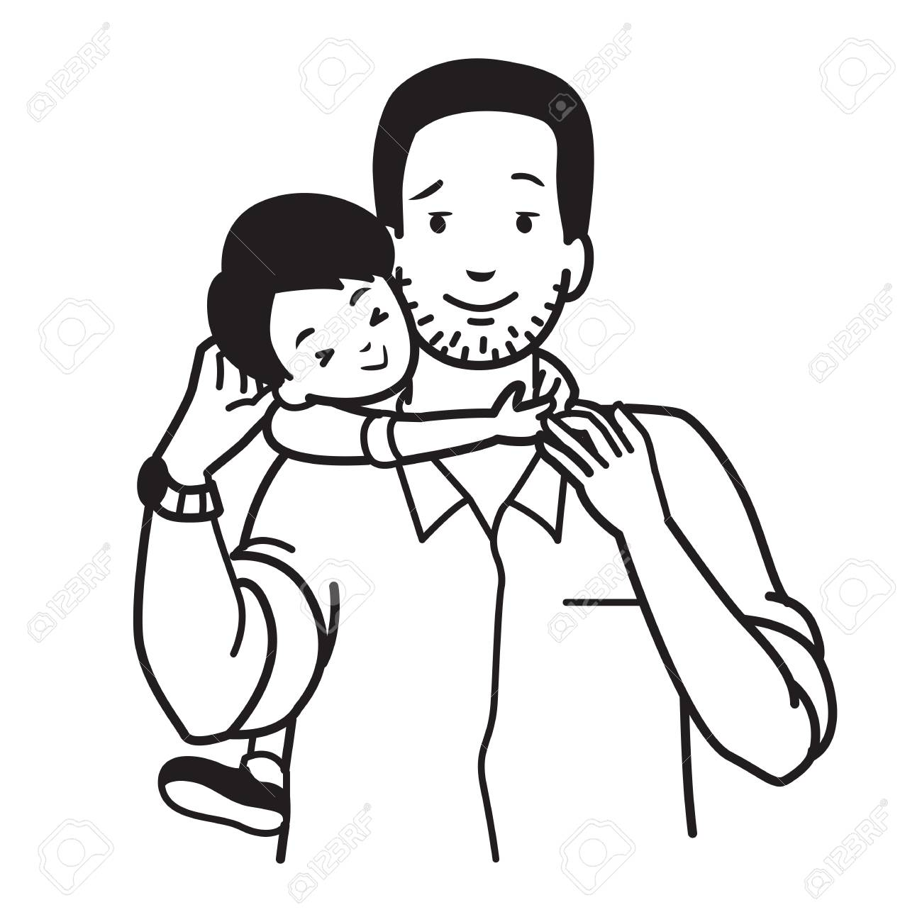 1300x1300 Son Hugging His Dad Around Neck, Concept Of Father And Son