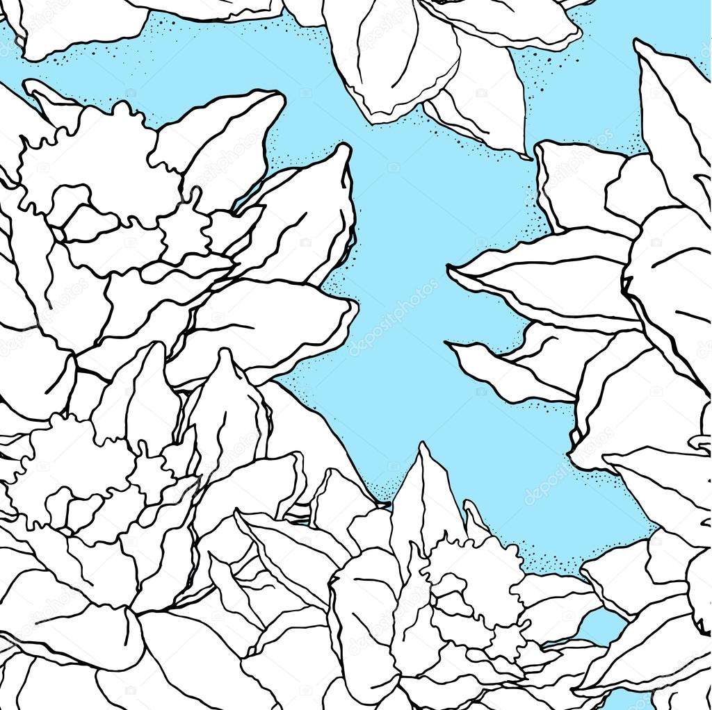 1024x1022 Seamless Pattern With Hand Drawn Daffodils. For Fabric, Textile