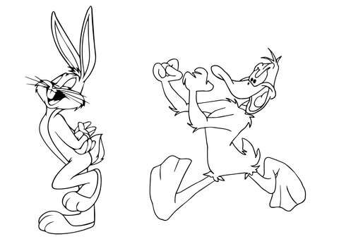 480x339 Daffy Duck Chasing Bugs Bunny Coloring Page Free Printable