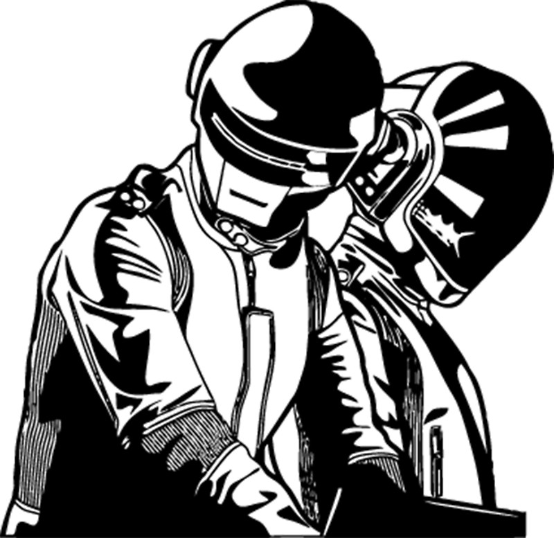 800x777 Daft Punk Mixing Blanco Y Negro Canvas Prints By Titanthony