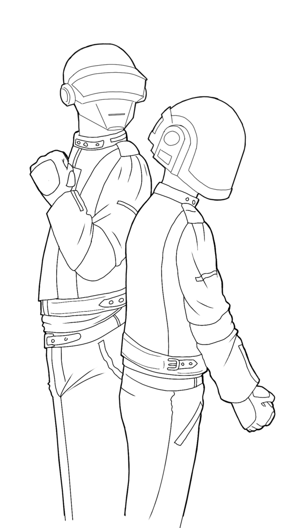 600x1052 Daft Punk Lineart By Maiden Chynna Colouring Pages