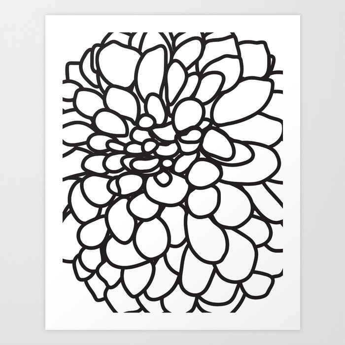 700x700 Black And White Modern Dahlia Flower Art Print By Aldariartstudio
