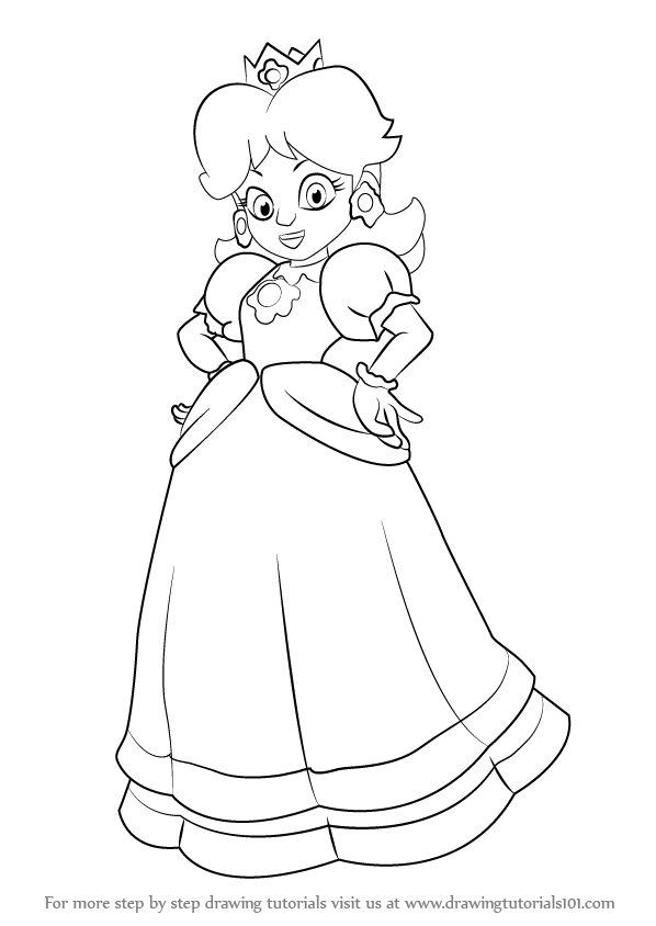 598x844 Learn How To Draw Princess Daisy From Super Mario From Super Mario