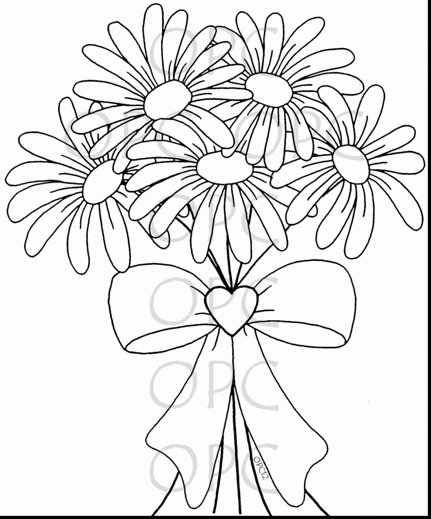 1372x1650 Brilliant Daisy Flower Coloring Pages With On Coloring Pages Daisy