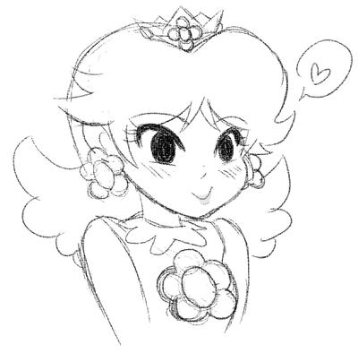 400x394 Cute Princess Daisy Sketch By Saladturtles