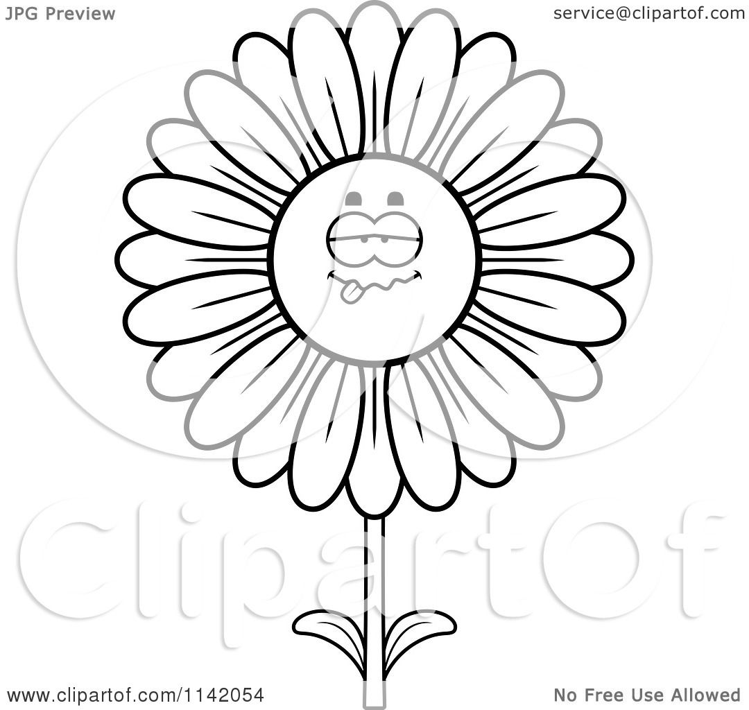 Daisy flower drawing at getdrawings free for personal use 1080x1024 cartoon clipart of a black and white sick daisy flower character izmirmasajfo
