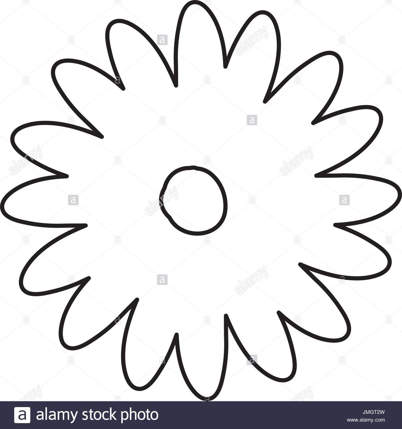 1300x1390 Sketch Contour Of Hand Drawing Daisy Flower With Several Petals