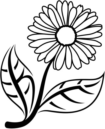 350x430 Kjf Daisy A Drawing Of A Daisy With The Initials Kjf