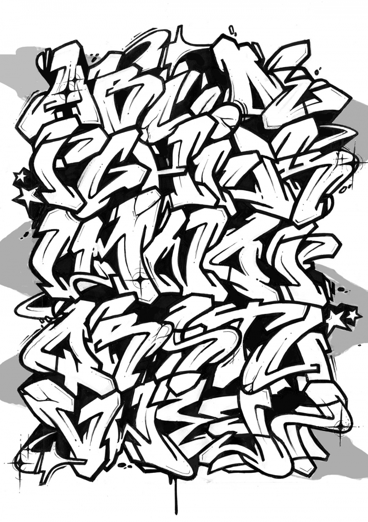 750x1061 Font Graffiti Old School Street Alphabet Competition Design