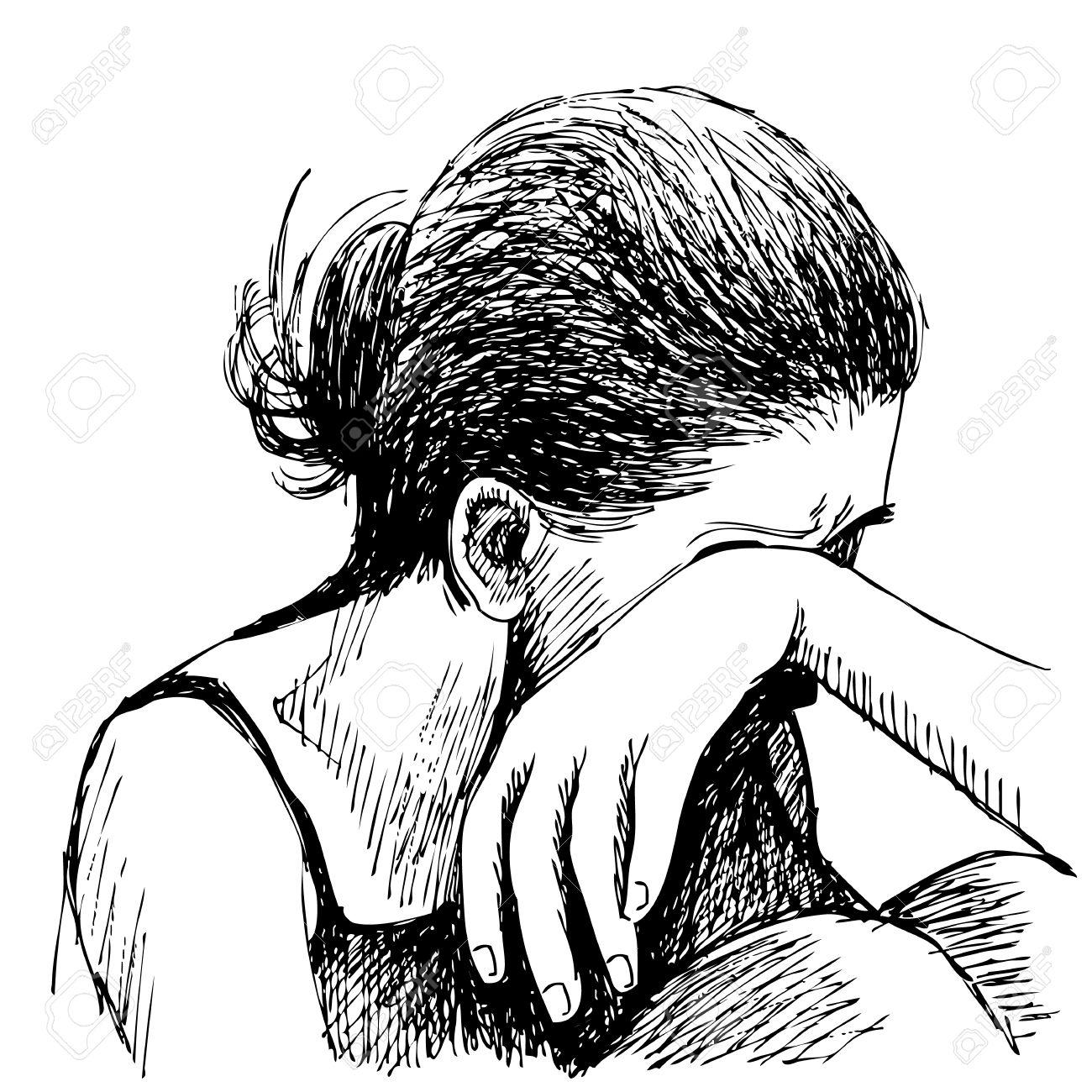 1300x1300 Human Emotion Sketch, Sad Girl Hand Drawn On White Background