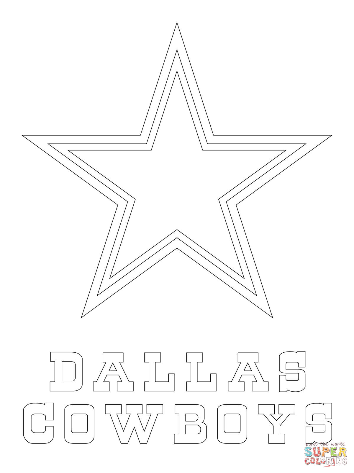 1200x1600 Dallas Cowboys Logo Coloring Page Free Printable Coloring Pages