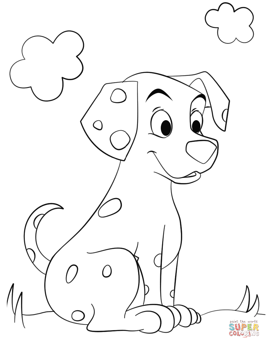 852x1102 Cute Dalmatian Dog Coloring Page Free Printable Pages