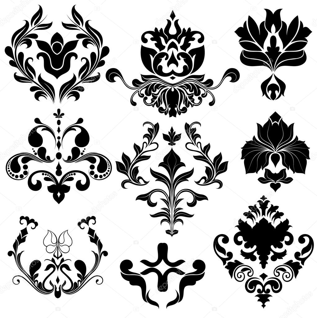 1022x1024 Damask Floral Designs Stock Vector Baavli