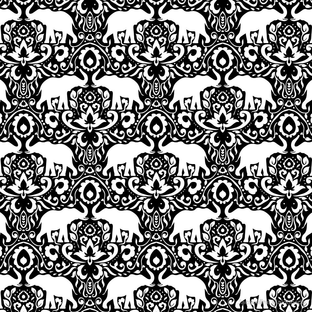 1000x1000 Elephant Damask Black And White By Jacqueline Maldonado Redbubble