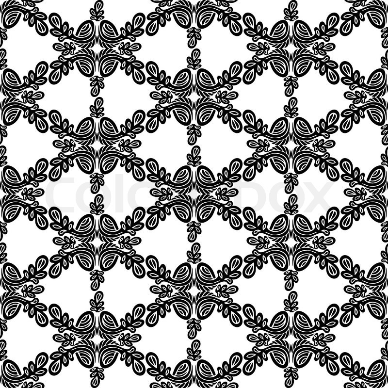 800x800 Abstract Damask Background, Black And White Fashion Seamless